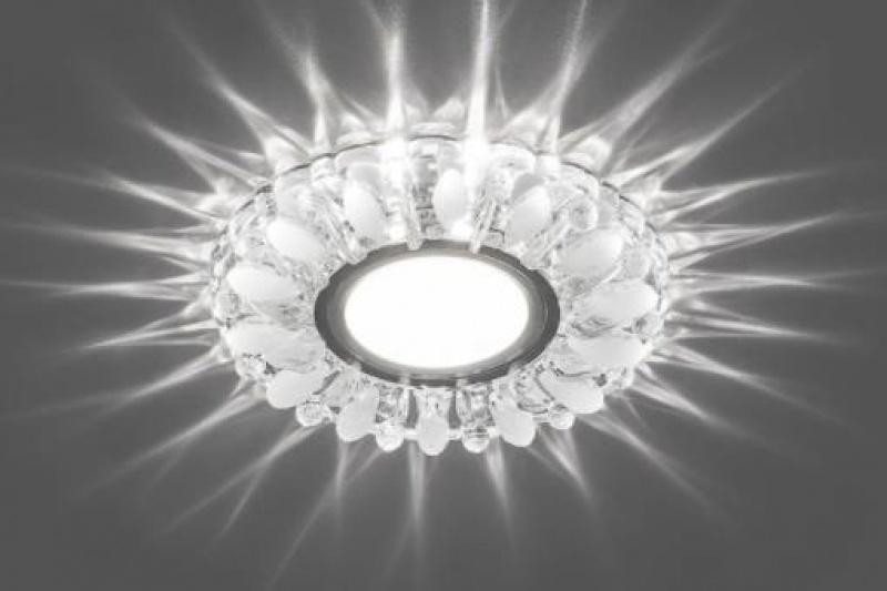 Светильник встраиваемый с белой LED подсветкой Feron CD914 потолочный MR16 G5.3 прозрачный-матовый