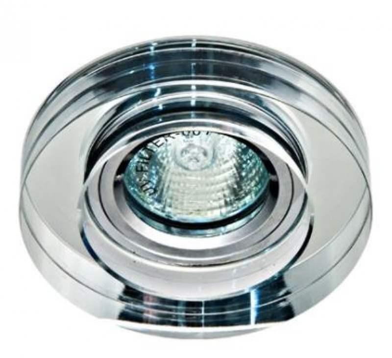 Неповоротный встраиваемый светильник 8080-2 прозрачный-серебро G5.3
