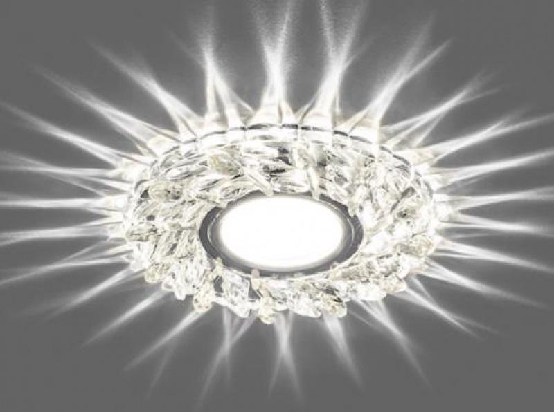 Светильник встраиваемый с белой LED подсветкой Feron CD915 потолочный MR16 G5.3 прозрачный